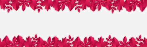 Bezszwowy sztandar z Burgundy jesieni liśćmi w papieru cięcia stylu royalty ilustracja