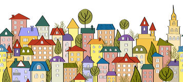 Bezszwowy sztandaru tło z rzędami kolorowi kreskówka domy ilustracji
