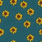 Bezszwowy tło śmieszni słoneczniki jednakowi oczy projekt kwitnie insekta lato wektor ilustracja wektor