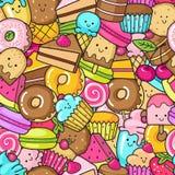 Bezszwowy tło cukierki, deserowy doodle, tort, słodki Donat, ciastka i macaron, ilustracja wektor
