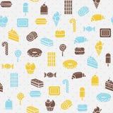 Bezszwowy tło cukiernianego projekta pomysłu ładni restauracyjni ustaleni cukierki Stylowy mieszkanie Zdjęcia Stock