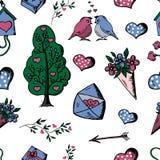 Bezszwowy tło Doodle, set ręka Rysujący przedmioty Valentin Zdjęcia Stock