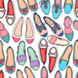 Bezszwowy tło kolorowi buty ilustracja wektor