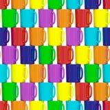 Bezszwowy tło komponujący kolorowe ceramiczne filiżanki ilustracji