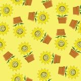 Bezszwowy tło kreskówka słonecznik Fotografia Stock