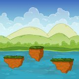 Bezszwowy tło Kształtujący teren morze dla gemowego projekta Paralaksa przygotowywa ilustracja wektor