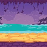 Bezszwowy tło Kształtujący teren seashore dla gemowego projekta Paralaksa przygotowywa royalty ilustracja