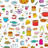 Bezszwowy tło posiłek, artykuły w doodle i projektujemy royalty ilustracja