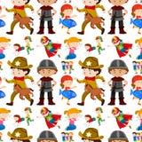 Bezszwowy tło projekt dla dzieciaków w różnych kostiumach royalty ilustracja