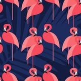 Bezszwowy tło Różowy flaming na tropikalnym tle Zdjęcia Royalty Free