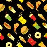 Bezszwowy tło Ręka rysunkowy fast food Fotografia Royalty Free