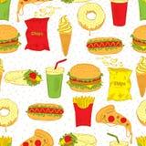 Bezszwowy tło Ręka rysunkowy fast food Obraz Stock