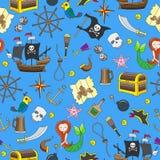 Bezszwowy tło temat piractwo i Morska podróż barwimy ikony na błękitnym tle Fotografia Royalty Free