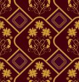 Bezszwowy tło w starym baroku stylu z złocistymi wzorami Zdjęcie Royalty Free