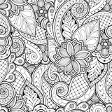 Bezszwowy tło w wektorze z doodles, kwiatami i Paisley, ilustracja wektor