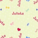 Bezszwowy tło wzoru imię Julietta nowonarodzony Fotografia Stock
