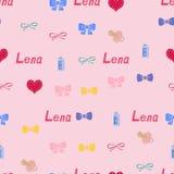 Bezszwowy tło wzoru imię Lena nowonarodzony Obraz Royalty Free
