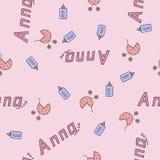 Bezszwowy tło wzoru imię nowonarodzony Anna Obraz Stock