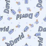 Bezszwowy tło wzoru imię nowonarodzony David Fotografia Royalty Free