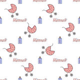 Bezszwowy tło wzoru imię nowonarodzony Hannah Fotografia Royalty Free
