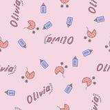 Bezszwowy tło wzoru imię nowonarodzony Olivia Fotografia Stock