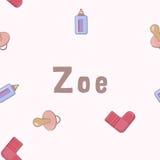 Bezszwowy tło wzoru imię Zoe nowonarodzony Imię dziecko Zoe Bezszwowy imię Zoe Zoe wektor Obraz Royalty Free