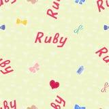 Bezszwowy tło wzoru imienia rubin nowonarodzony Imię dziecko rubin Bezszwowy imię rubin Rubinowy wektor Fotografia Royalty Free