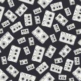 Bezszwowy tło wzoru modnisia styl z audiocassette muzyka dźwięk retro Magnesowa taśma Analog multimedie Obrazy Stock