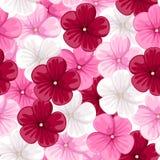 Bezszwowy tło z ślazów kwiatami. royalty ilustracja