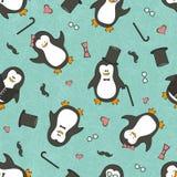 Bezszwowy tło z śmiesznymi pingwinami Zdjęcia Royalty Free