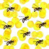 Bezszwowy tło z żółtymi akwarela okręgami, pszczołami i Fotografia Stock