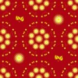 Bezszwowy tło z żółtymi asterami i złotem opuszcza na czerwonym tle ilustracja wektor