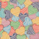 Bezszwowy tło z barwiącymi sercami z ornamentami również zwrócić corel ilustracji wektora ilustracji