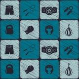 Bezszwowy tło z bokserskimi ikonami Zdjęcia Stock
