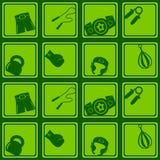 Bezszwowy tło z bokserskimi ikonami Obrazy Stock