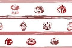 Bezszwowy tło z cukierkami i tortami ilustracji
