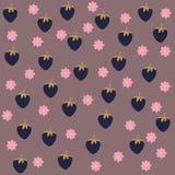 Bezszwowy tło z czarną jagodą i kwiatami Obraz Royalty Free