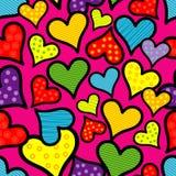 Bezszwowy tło z dekoracyjnymi sercami to walentynki dni acrylic barwi rysunkowego papier Tekstylny wzajemne zrozumienie ilustracji