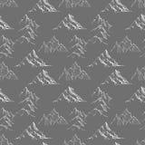 Bezszwowy tło z doodle nakreślenia górami na czerni Może używać dla tapety, deseniowe pełnie, tkanina, strona internetowa Zdjęcia Royalty Free