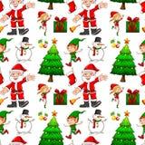 Bezszwowy tło z elfem i Santa ilustracji