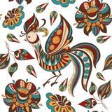 Bezszwowy tło z jaskrawymi abstraktów ptakami i kwiatami również zwrócić corel ilustracji wektora Zdjęcie Royalty Free