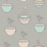 Bezszwowy tło z kawowymi i herbacianymi filiżankami Obraz Stock