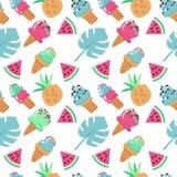 Bezszwowy tło z lody, arbuza, ananasa i palmy liśćmi, Wektorowa ręka rysująca płaska ilustracja na białym tle ilustracja wektor