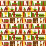 Bezszwowy tło z półka na książki kolorowych deseniowych planowanymi różnych możliwych wektora royalty ilustracja