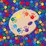 Bezszwowy tło z paletą i handprints Fotografia Royalty Free
