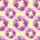 Bezszwowy tło z peonia kwiatami beak dekoracyjnego latającego ilustracyjnego wizerunek swój papierowa kawałka dymówki akwarela Gr Fotografia Stock