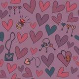 Bezszwowy tło z sercami, biżuterią i kluczami, Fotografia Stock