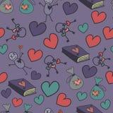 Bezszwowy tło z sercami, książkami i kluczami, Zdjęcia Stock