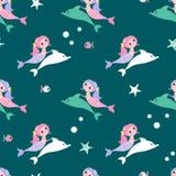 Bezszwowy tło z syrenką i delfinem Zdjęcie Stock