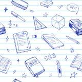 Bezszwowy tło z szkolnym przedmiotem i symbole na błękit rządzącym papierze Edukacja wzoru doodle Ilustracja Wektor